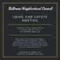 Crime and Safety Meeting