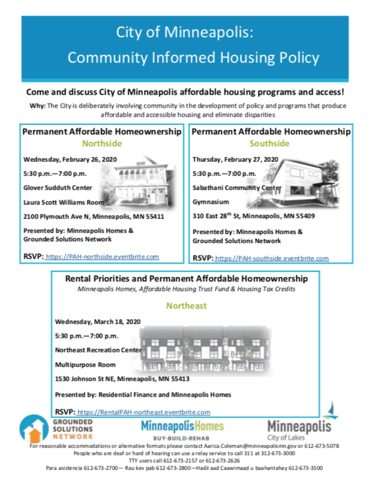 Community Input to City of Minneapolis Affordable Housing Programs