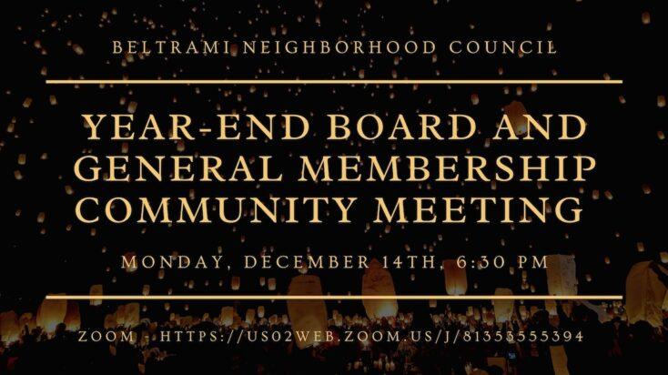 December Board and General Membership Meeting